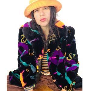 Rare vtg 80s letters print colorful faux fur coat